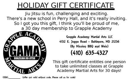 Holiday Martial Arts Gift Certificate Perry Hall